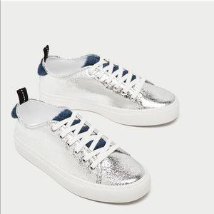 Zara | Silver & Blue Shimmer Sneakers